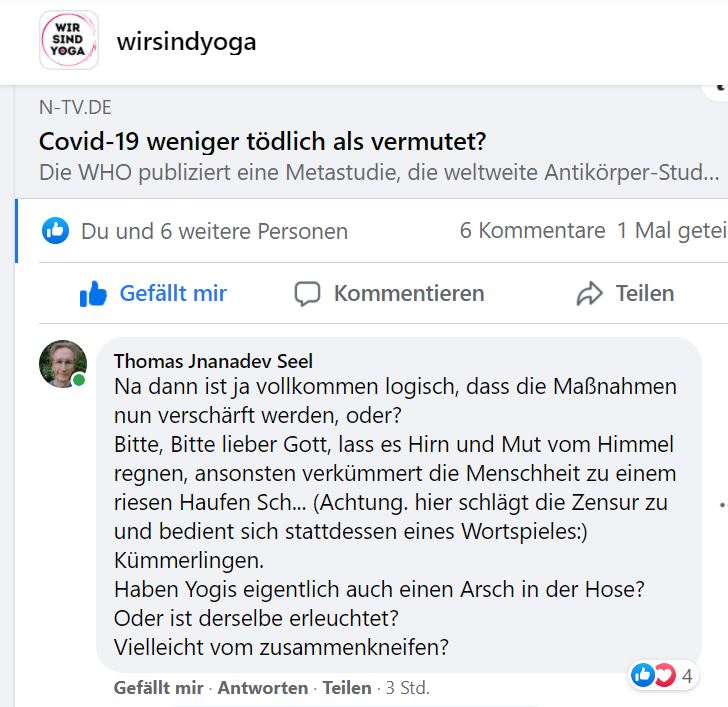 Dialog aus wirsindyoga-Facebook-Gruppe
